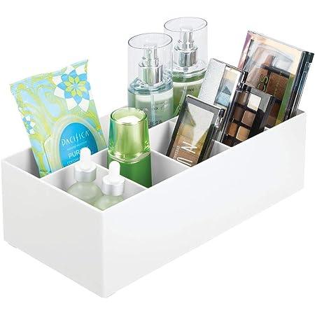 mDesign rangement cosmétiques pour lavabos ou table de maquillage – panier de salle de bain en plastique sans BPA pour le maquillage – petite boîte de rangement avec 6 compartiments – blanc