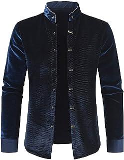 XLDD Mens Chinese Grandad Collar Jacket Wedding Party Dress Shirt Traditional Chinese Suit Retro Shirt Stylish Dinner Tuxe...