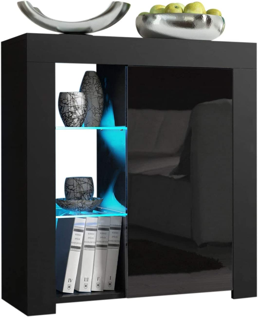 Domadeco Milano 1 Sideboard Contemporary Style Sideboard Cabinet and Buffet/Wooden sideboards Color Black and Black