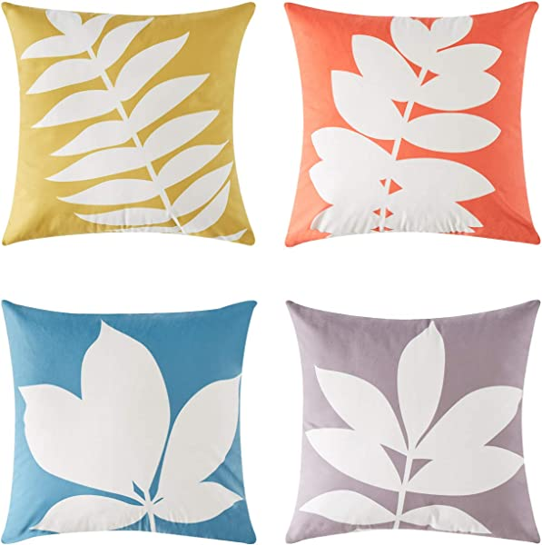 Top Finel Square Decorative Throw Pillow Covers Soft Microfiber Outdoor Cushion Covers 18 X 18 For Sofa Bed Set Of 4 Leaves