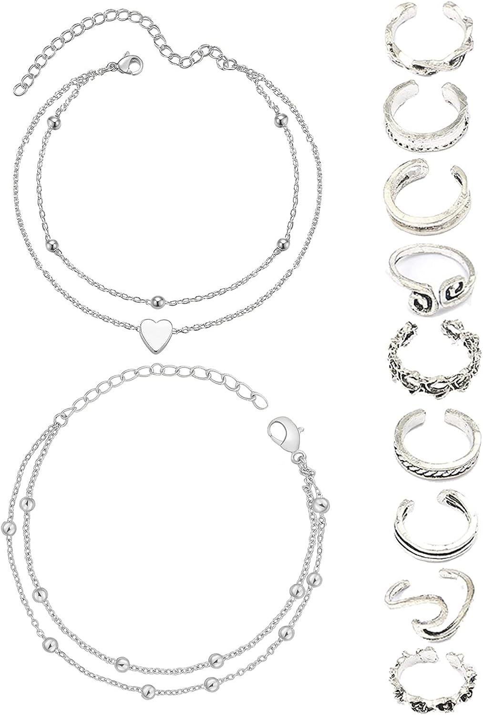 Anklet and Toe Ring Set for Women Layered Anklets Adjustable Toe Rings Anklet Bracelet for Girls