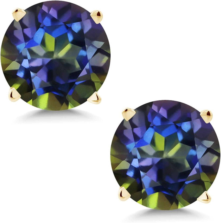 2.00 Ct Round 6mm bluee Mystic Topaz 14K Yellow gold Stud Earrings