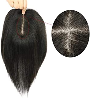 Natural Looking Black Long Straight Hair Wig Double Hand Needle Real Hair Wig for Men and Women (Color : Natural Black, Si...