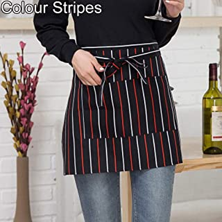 WillowswayW Catering Chef Waiter Striped Plaid Half-Length Short Waist Apron Pocket - Colour Stripes