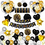 "Okany 98 Pcs Party Decorations Kit ""HAPPY BIRTHDAY"" Banner Confetti Latex Balloons Star Heart Foil Balloons Paper Pom Poms Tassels for Party Supplies Black and Gold"