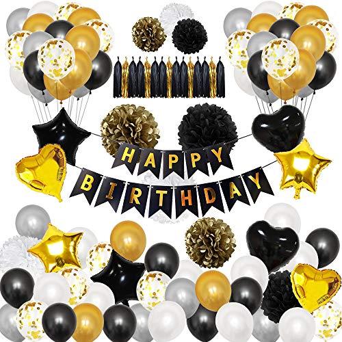 TOPWINRR Kit Decoration Anniversaire Fille Garçon Confettis Ballons Anniversaire Helium Bannière Joyeux Anniversaire Or Noir Gris
