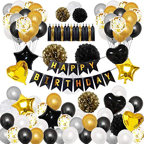 """Okany 98 Pcs Party Decorations Kit """"HAPPY BIRTHDAY"""" Banner Confetti Latex Balloons Star Heart Foil Balloons Paper Pom Poms Tassels for Party Supplies Black and Gold"""