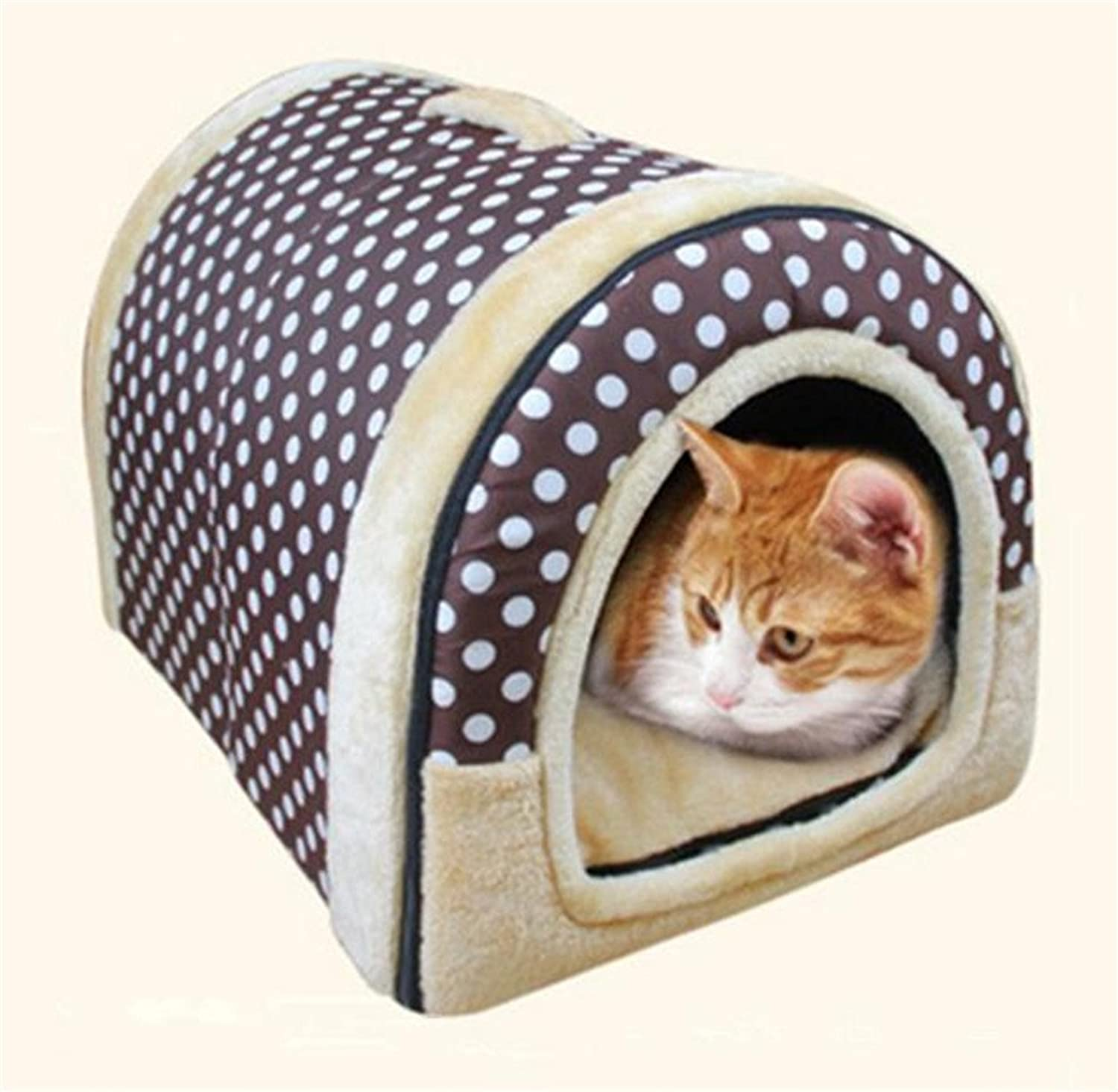 Cozy 2in1 Pet house and Sofa NonSlip Dog Cat Igloo Beds (M(45x35x32cm), Coffee Dot)