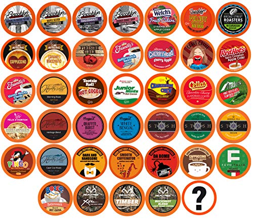 Two Rivers Coffee, Tea, Cocoa, Cider, Cappuccino Single-cup Sampler Pack for Keurig K-Cup Brewers, 40 Count