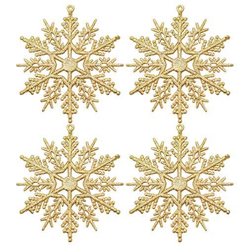 URATOT 48 Pieces Gold Christmas Glitter Snowflake Ornaments Hanging Snowflake Christmas Tree Decorations for Christmas Decoration, 4 Inches (Gold, 48)
