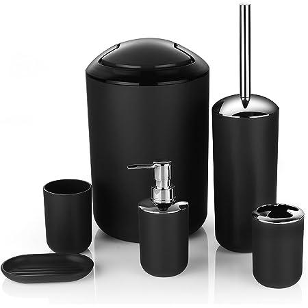 6Pcs Bath Bathroom Accessories Set Toothbrush Holder Soap Dispenser Toilet