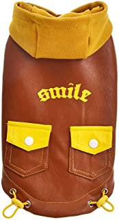 Smoxi pet Clothing Autumn and Winter Solid Color Stitching PU Hooded Pocket Button Letters Casual cat Dog Shirt