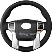 Eiseng Steering Wheel Cover for 2012-2019 Toyota Tacoma 2014-2019 Tundra 2014-2019 Sequoia 2010-2019 4Runner Interior Accessories Stitch On Wrap Sew Genuine Leather (Black thread)