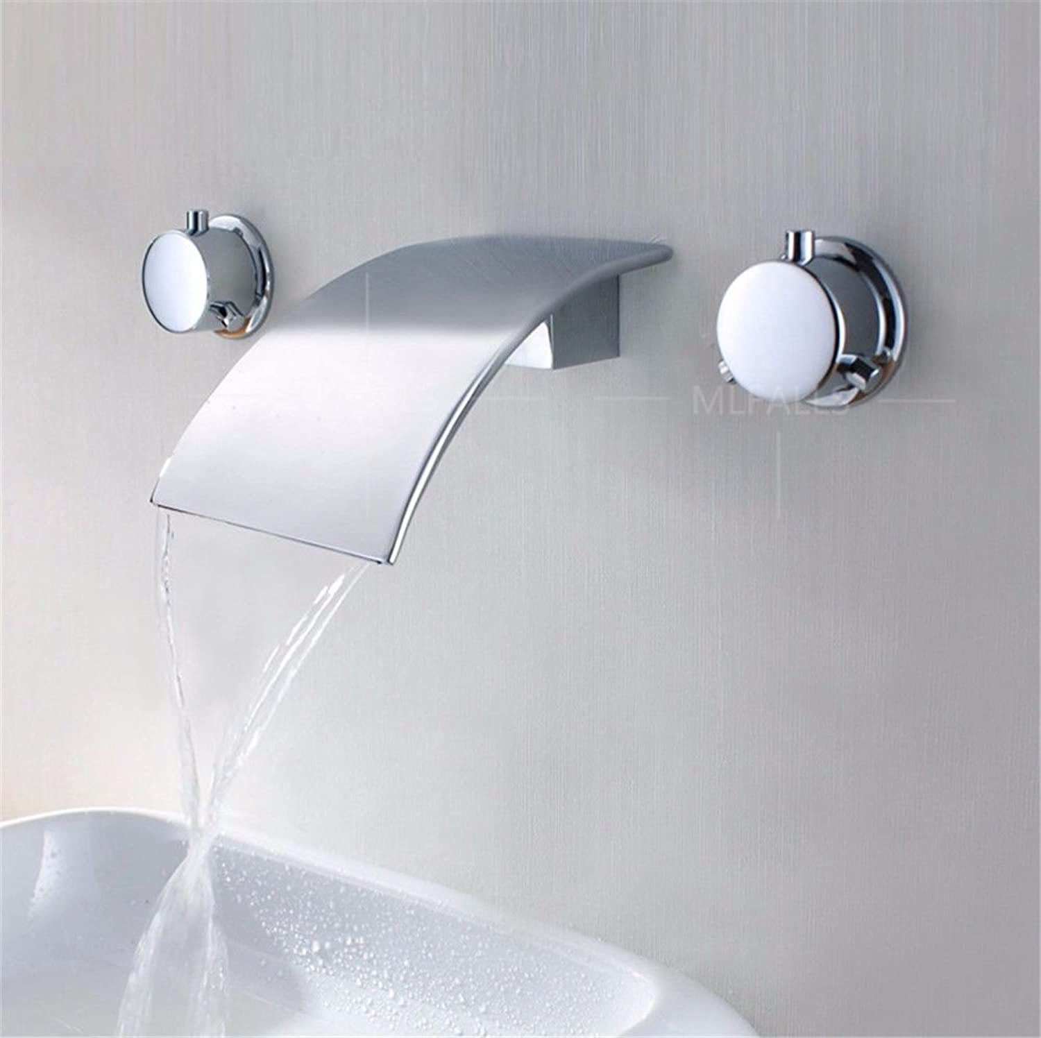 Lpophy Bathroom Sink Mixer Taps Faucet Bath Waterfall Cold and Hot Water Tap for Washroom Bathroom and Kitchen Into The Wall Concealed Big Waterfall Hot and Cold Round