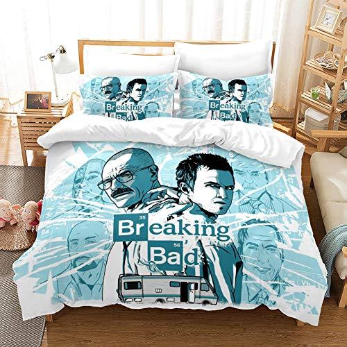 Set di Biancheria da Letto Matrimoniale de 3 Pezzi Copripiumino 240x260 cm Stampa di Breaking Bad 3D in Microfibra con 2 Federe 50x75 cm Bambini Adulto bedding con Cerniera per Decorazione del letto