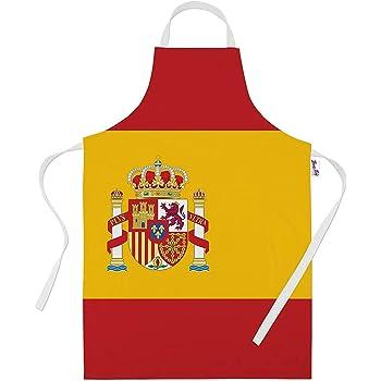 Delantales impresos para hombres divertidos bandera española regalos de horneado delantal de cocina cocineros regalo: Amazon.es: Hogar