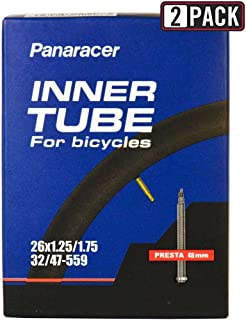 Panaracer Bicycle Tube, Presta Valve, many different sizes, 33-40-48-60-80 mm valves, single or two pack