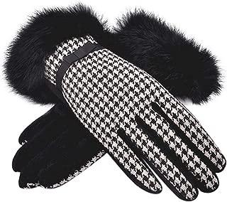 Women Winter Wool Plaid Gloves Warm Knit Thick Fleece Lining Rabbit Fur Cuff
