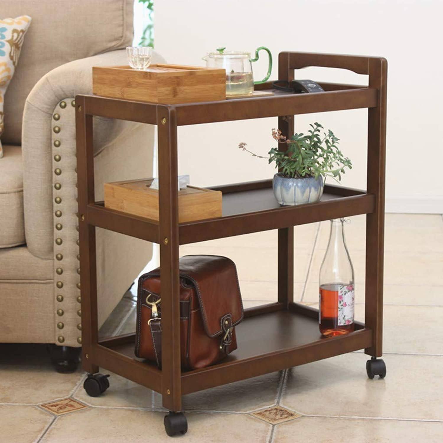 3-Shelf Wooden Kitchen cart,Multi-Purpose bar cart Serving cart with 4 Wheels Night Stand Table Sofa Table End Table for Restaurant Hotel-B 59x33x73cm(23x13x29)