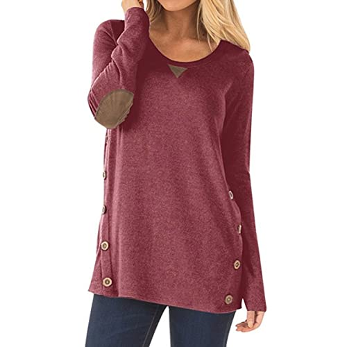 24c4cd1fc56 NICIAS Womens Side Buttons Long Sleeve Casual Crew Neck Elbow Patched  Sweatshirt Loose T Shirt Blouses