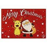 Olivo.Shop – Felpudo navideño de coco, diseño de Papá Noel, 40 x 60 cm