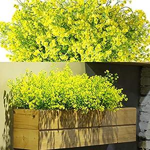 12 Bundles Artificial Flowers Outdoor UV Resistant Plants Flowers Decorative Artificial Shrubs Bushes for Floral Arrangement, Table Centerpiece, Home Garden Kitchen Decor (Yellow)
