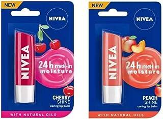 Nivea Shine Caring Lip Balm #4 Cherry Shine, Peach Shine (Pack of: 2, 9.6 g)