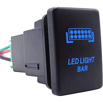 LED Light Bar Push Button Switch with Connector Wire Blue Backlit On/Off Kit Compatible with Toyota Tundra Tacoma 4Runner