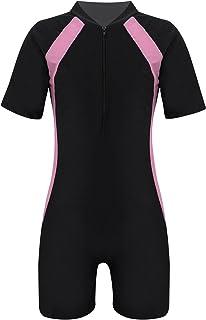 MSemis Kids Boy Girl One-Piece Swimwear Unisex UPF 50+ UV Sun Protection Swimsuit Beach Swimming Bathing Suit Short Jumpsuit