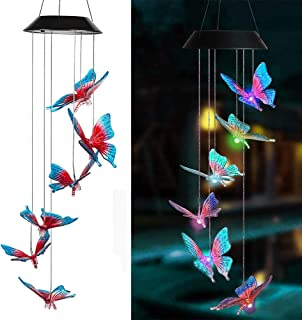 Gecheer Solar Energy Powered Wind Chime Lamp Color-Changing Butterfly Outdoor Garden Street Solar Panel Light