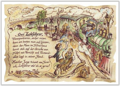 Die Staffelei Geschenk Lokführer Lokomotivführer Eisenbahn Präsent Zeichnung Color 20 x 15 cm
