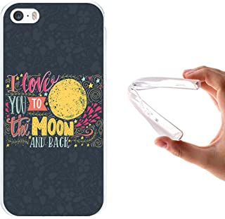 9ca55e6ce05 WoowCase Funda iPhone SE iPhone 5 5S, [iPhone SE iPhone 5 5S ] Funda  Silicona Gel Flexible Frase - I Love You To The Moon and Back, Carcasa Case  TPU ...