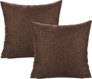 All Smiles Coffee Ourdoor Patio Furniture Throw Pillow Covers Square Solid Brown Accent Cushion Cases for Couch Sofa Sunbrella Home Decoration 18