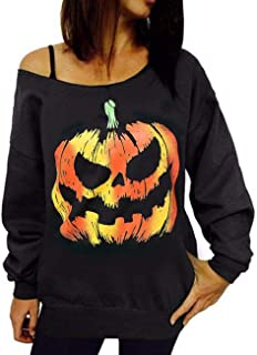 Sexyshine Women's Halloween Pumpkin Print Long Sleeve Sweatshirt Pullover Tops Blouse Shirt