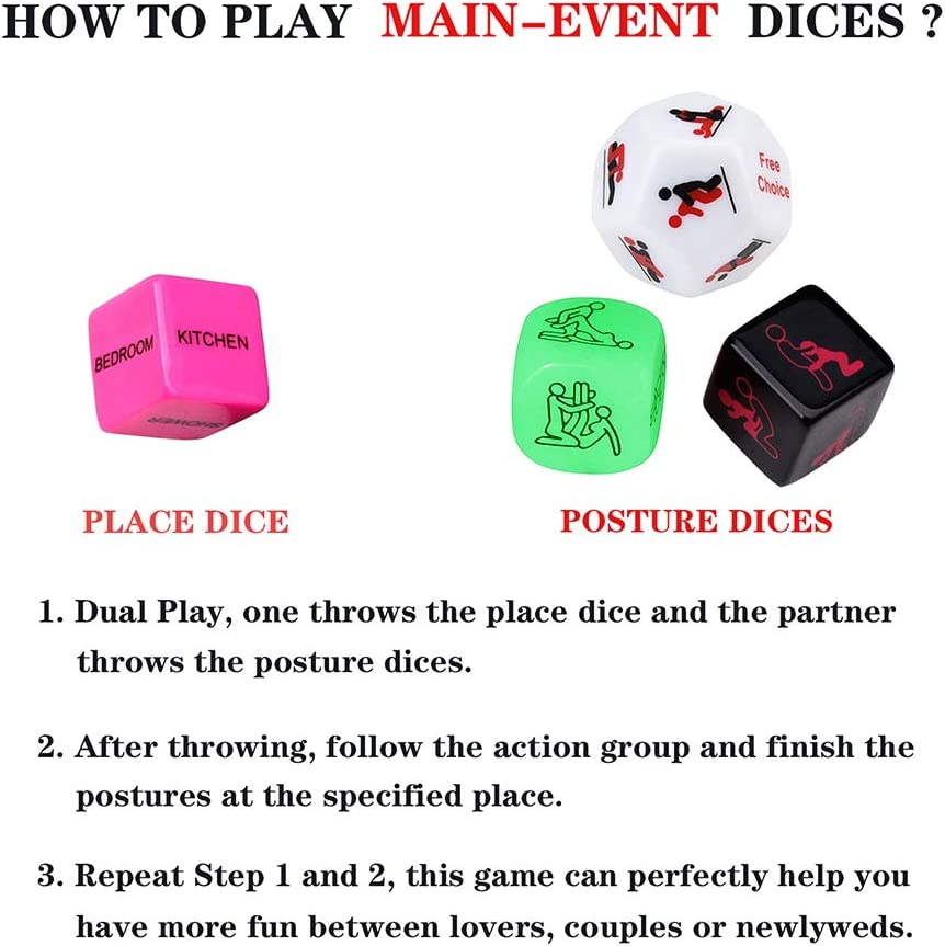Funny Romantic Role Playing Dice Party Dice Game Dice Groom Roast,Newlyweds for Hen Party Honeymoon bacherette Party,Him and Her Bridal Shower Wedding Anniversary