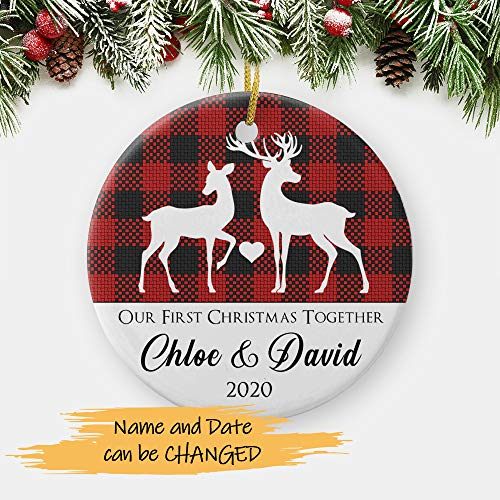 Reindeer Our First Christmas Together 2020, 1st Christmas as Boyfriend Girlfriend, Personalized Gift for New Couple Circle Christmas Ornament