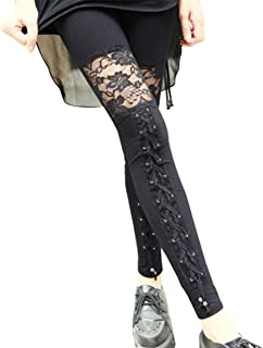 Collager Women's Fashion Punk Rock Gothic Sexy Lace Leggings (L, Black B)