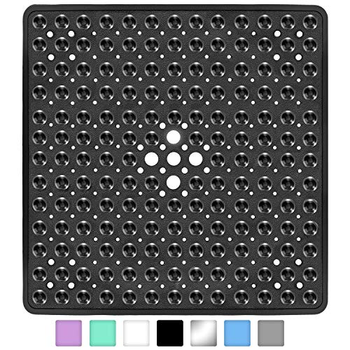 Yimobra Square Bath Shower Tub Mat for Bathroom, Non-Slip Suction Cups with Drain Holes, Machine Washable, Top Material, 21 x 21 Inches, Black