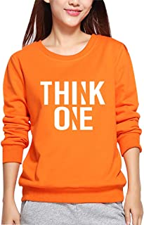 YEMOCILE Womens Fashion Think One Letter Pirnted Long Sleeve Pullover Sweatshirt Hoodie