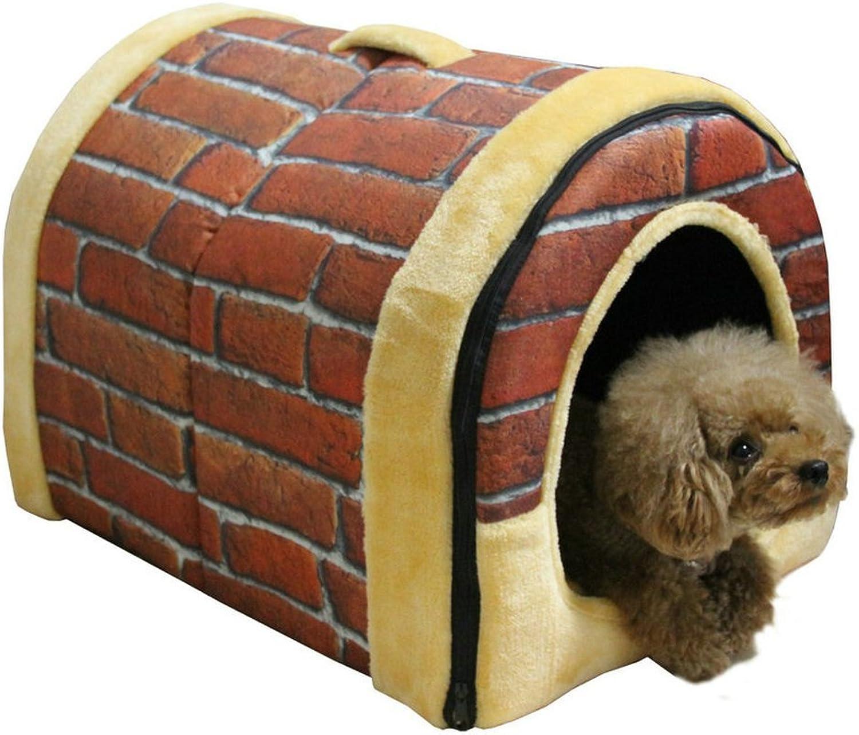 comprar barato ANamarilloUBBLES Multifuncional Cama Casa Para Perro Perro Perro Mascota,Casa interior de mascota perro gato Acolchado plegable Cajones perreras Cama (mediana, ladrillo retro)  suministro de productos de calidad