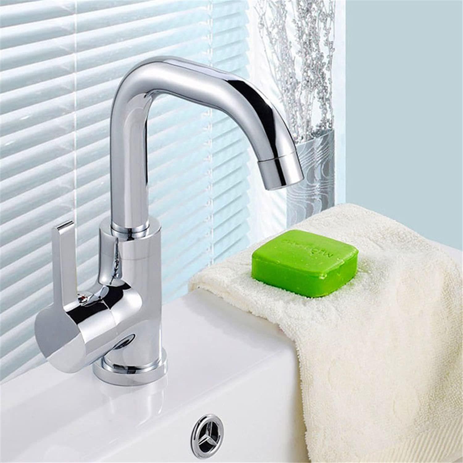 Oudan Basin Mixer Tap Bathroom Sink Faucet The copper basin faucet single hole faucet hot and cold water nozzle 360 degrees.