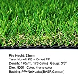 Realistic Deluxe Artificial Grass Synthetic Thick Lawn Turf Carpet -Perfect for Indoor/Outdoor Landscape (28 in x 40 in (7.7 Square FT))