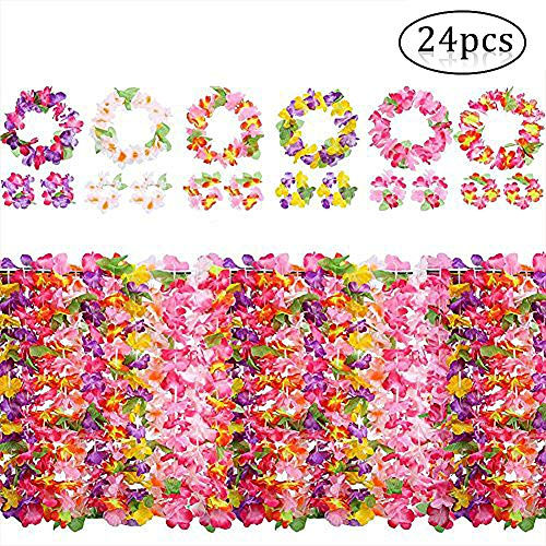 Yojoloin Hawaiian Flowers Garlands Leis Luau Flowers For Hawaii Party Decorations Supplies,With 12 Bracelets 6 Headbands And 6 Necklaces for Party Necklace Photo Booth Props DIY Latex Flowers (24PCS)