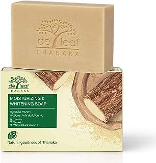 De Leaf Thanaka Natural Moisturizing Whitening Bar Soap, Vitamin B3 E Beauty Deep Cleansing Hydration Moisturize Clean Natural Face Facial Body Skin Soap, 100g 1 Pack Count Thanaka
