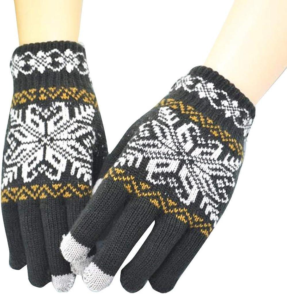 Stoota Men Women Knit Wool Snowflake Winter Keep Warm Gloves, Thermal Warm Knit Touch Screen Lining Mittens