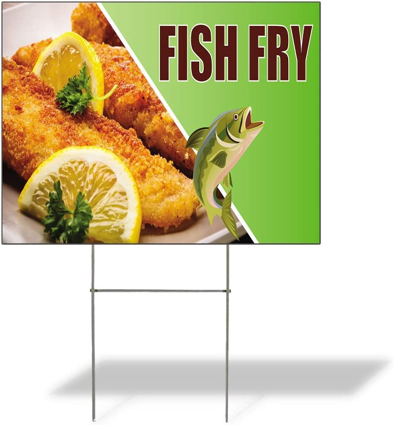 Weatherproof Yard ストア Sign Fish ☆正規品新品未使用品 Fry Advertising G Outdoor B Printing