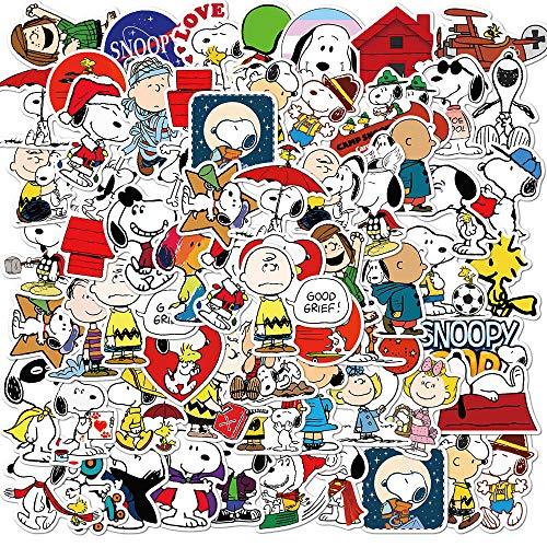 XIAMU Anime Snoopy Pegatina Decorativa de Graffiti Equipaje portátil monopatín Pegatina Impermeable 50 Piezas