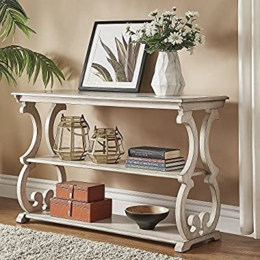 iNSPIRE Q Lorraine Wood Scroll TV Stand Sofa Table Classic Antique White