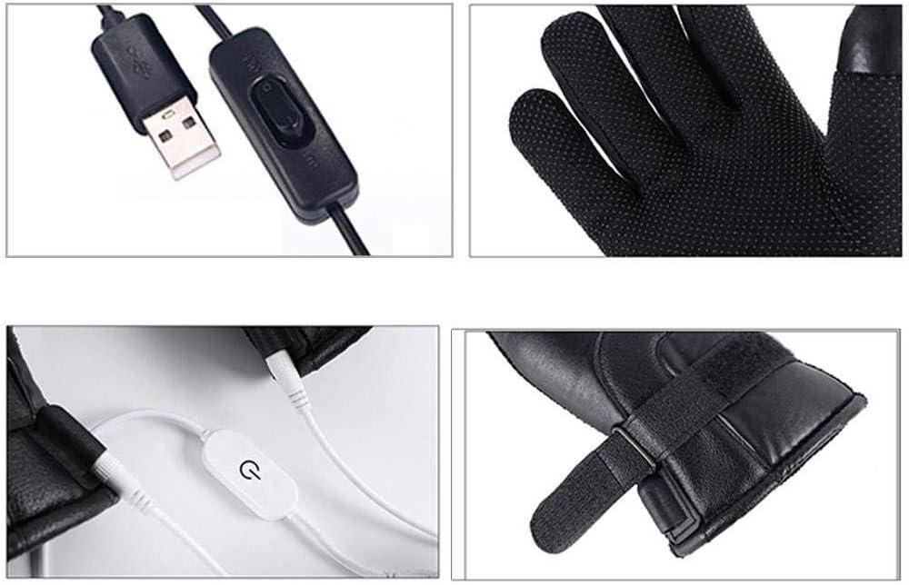 asdfwe Guantes con Calefacci/ón El/éctrica Invierno Guantes T/érmicos USB con Pantalla T/áctil De Piel Impermeable para Hombres Mujeres Esqu/í Ciclismo