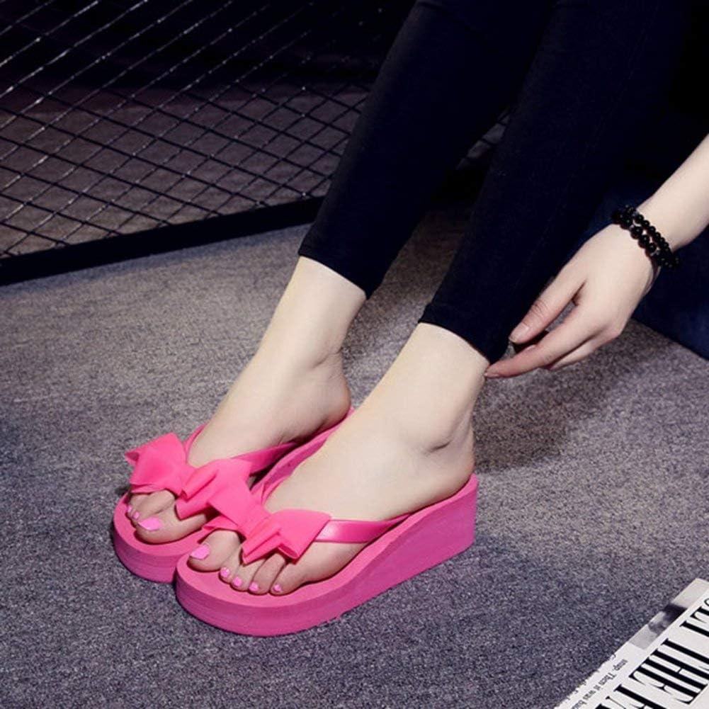 Yakoya Ladies Wedge Heels Flip Flops Bow Tie Sandals Anti Skid Fashion Summer Beach Sandals Women